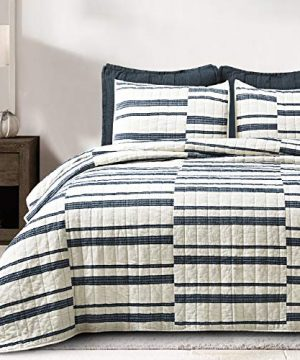 SHALALA NEW YORK Abstract Patchwork Quilt Set 3 Piece Modern Farmhouse Coverlet With Midnight Blue Lace Jacquard On Cream Stripe 1 Breathable 100 Cotton Quilt With 2 Matching Shams FullQueen 0 0 300x360