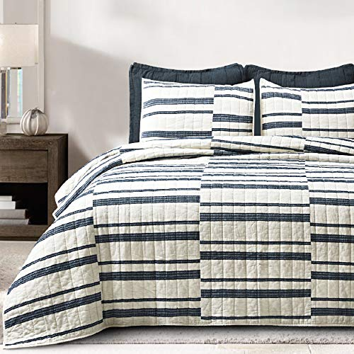SHALALA NEW YORK Abstract Patchwork Quilt Set 3 Piece Modern Farmhouse Coverlet With Midnight Blue Lace Jacquard On Cream Stripe 1 Breathable 100 Cotton Quilt With 2 Matching Shams FullQueen 0 0