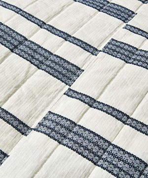 SHALALA NEW YORK Abstract Patchwork Quilt Set 3 Piece Modern Farmhouse Coverlet With Midnight Blue Lace Jacquard On Cream Stripe 1 Breathable 100 Cotton Quilt With 2 Matching Shams FullQueen 0 1 300x360