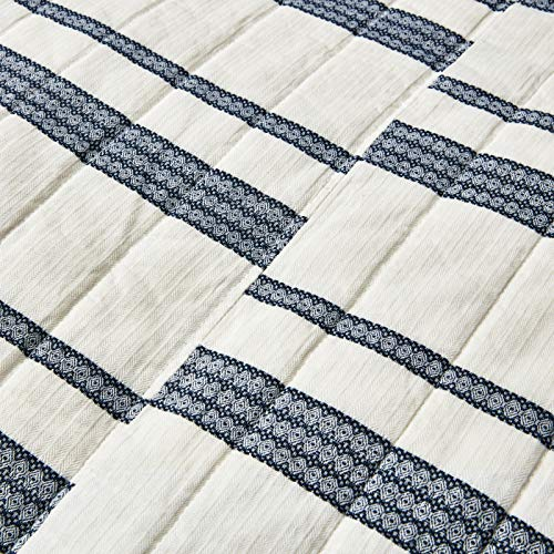 SHALALA NEW YORK Abstract Patchwork Quilt Set 3 Piece Modern Farmhouse Coverlet With Midnight Blue Lace Jacquard On Cream Stripe 1 Breathable 100 Cotton Quilt With 2 Matching Shams FullQueen 0 1