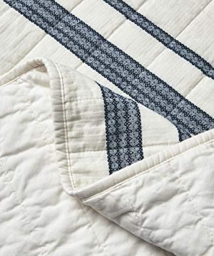 SHALALA NEW YORK Abstract Patchwork Quilt Set 3 Piece Modern Farmhouse Coverlet With Midnight Blue Lace Jacquard On Cream Stripe 1 Breathable 100 Cotton Quilt With 2 Matching Shams FullQueen 0 2 300x360