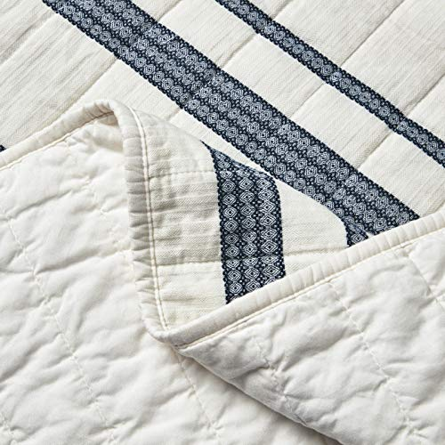 SHALALA NEW YORK Abstract Patchwork Quilt Set 3 Piece Modern Farmhouse Coverlet With Midnight Blue Lace Jacquard On Cream Stripe 1 Breathable 100 Cotton Quilt With 2 Matching Shams FullQueen 0 2