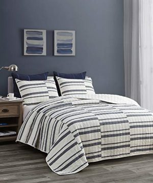 SHALALA NEW YORK Abstract Patchwork Quilt Set 3 Piece Modern Farmhouse Coverlet With Midnight Blue Lace Jacquard On Cream Stripe 1 Breathable 100 Cotton Quilt With 2 Matching Shams FullQueen 0 300x360