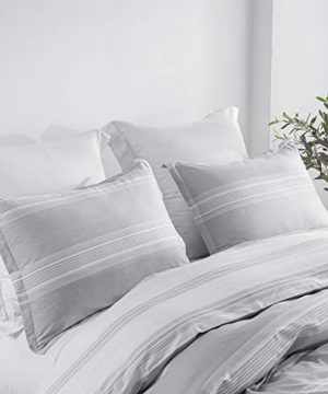 SLEEPBELLA Striped Duvet Cover Twin Size 100 Cotton Light Gray Printed On White Stripes Reversible Soft Breathable Durable Bedding Set 0 0 300x360
