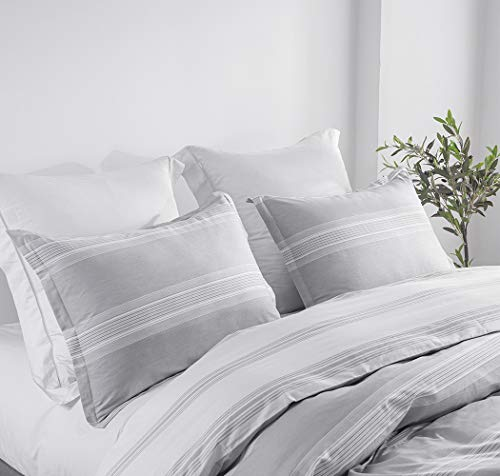 SLEEPBELLA Striped Duvet Cover Twin Size 100 Cotton Light Gray Printed On White Stripes Reversible Soft Breathable Durable Bedding Set 0 0