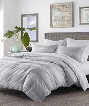 SLEEPBELLA Striped Duvet Cover Twin Size 100 Cotton Light Gray Printed On White Stripes Reversible Soft Breathable Durable Bedding Set 0 1 300x360