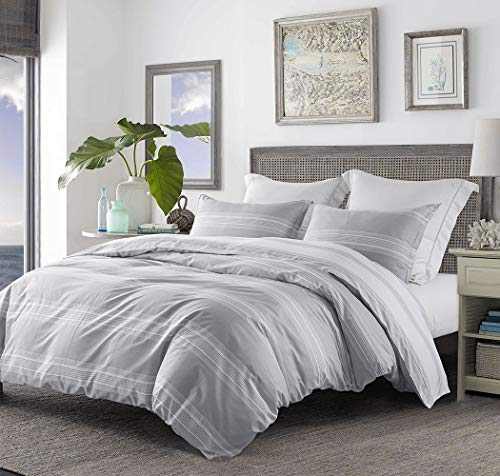 SLEEPBELLA Striped Duvet Cover Twin Size 100 Cotton Light Gray Printed On White Stripes Reversible Soft Breathable Durable Bedding Set 0 1