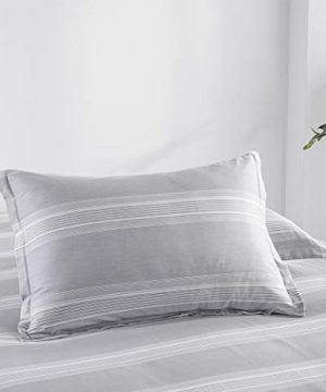 SLEEPBELLA Striped Duvet Cover Twin Size 100 Cotton Light Gray Printed On White Stripes Reversible Soft Breathable Durable Bedding Set 0 2 300x360