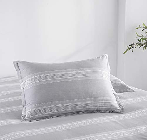 SLEEPBELLA Striped Duvet Cover Twin Size 100 Cotton Light Gray Printed On White Stripes Reversible Soft Breathable Durable Bedding Set 0 2