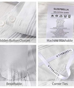 SLEEPBELLA Striped Duvet Cover Twin Size 100 Cotton Light Gray Printed On White Stripes Reversible Soft Breathable Durable Bedding Set 0 3 300x360