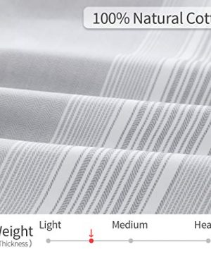 SLEEPBELLA Striped Duvet Cover Twin Size 100 Cotton Light Gray Printed On White Stripes Reversible Soft Breathable Durable Bedding Set 0 4 300x360