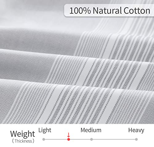 SLEEPBELLA Striped Duvet Cover Twin Size 100 Cotton Light Gray Printed On White Stripes Reversible Soft Breathable Durable Bedding Set 0 4