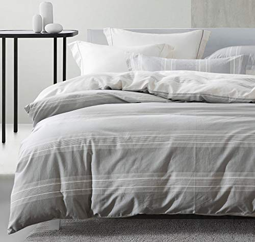 SLEEPBELLA Striped Duvet Cover Twin Size 100 Cotton Light Gray Printed On White Stripes Reversible Soft Breathable Durable Bedding Set 0