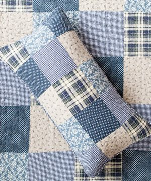 SLPR Blue Symphony 2 Piece Patchwork Cotton Bedding Quilt Set Twin With 1 Sham Country Quilted Bedspread 0 0 300x360