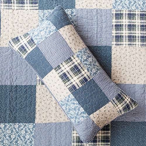 SLPR Blue Symphony 2 Piece Patchwork Cotton Bedding Quilt Set Twin With 1 Sham Country Quilted Bedspread 0 0
