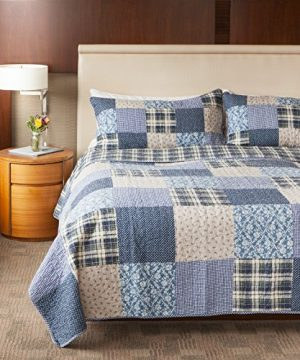 SLPR Blue Symphony 2 Piece Patchwork Cotton Bedding Quilt Set Twin With 1 Sham Country Quilted Bedspread 0 1 300x360