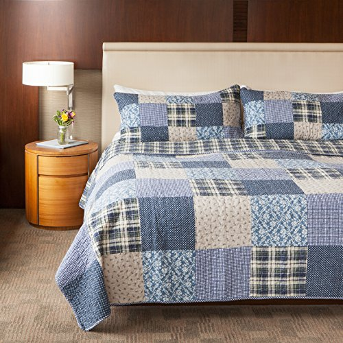 SLPR Blue Symphony 2 Piece Patchwork Cotton Bedding Quilt Set Twin With 1 Sham Country Quilted Bedspread 0 1