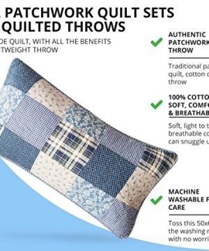 SLPR Blue Symphony 2 Piece Patchwork Cotton Bedding Quilt Set Twin With 1 Sham Country Quilted Bedspread 0 2 300x360
