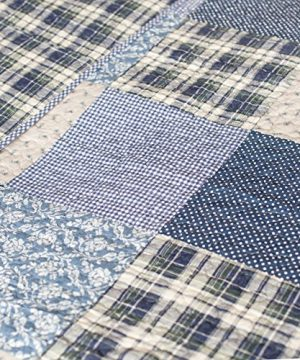 SLPR Blue Symphony 2 Piece Patchwork Cotton Bedding Quilt Set Twin With 1 Sham Country Quilted Bedspread 0 3 300x360