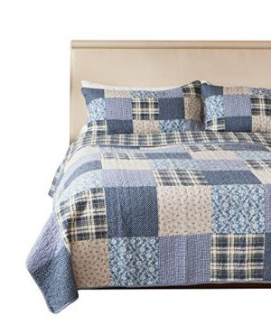 SLPR Blue Symphony 2 Piece Patchwork Cotton Bedding Quilt Set Twin With 1 Sham Country Quilted Bedspread 0 300x360