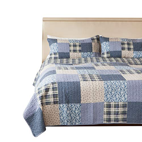 SLPR Blue Symphony 2 Piece Patchwork Cotton Bedding Quilt Set Twin With 1 Sham Country Quilted Bedspread 0