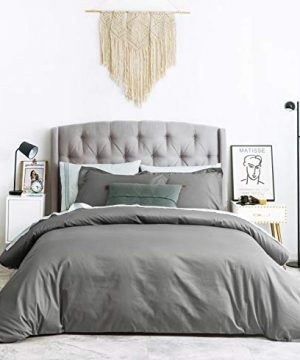 SUSYBAO 2 Pieces Duvet Cover Set 100 Natural Cotton TwinSingle Size 1 Duvet Cover 1 Pillow Sham Stone Grey Hotel Quality Ultra Soft Breathable Comfortable Durable Solid Bedding With Zipper Ties 0 300x360