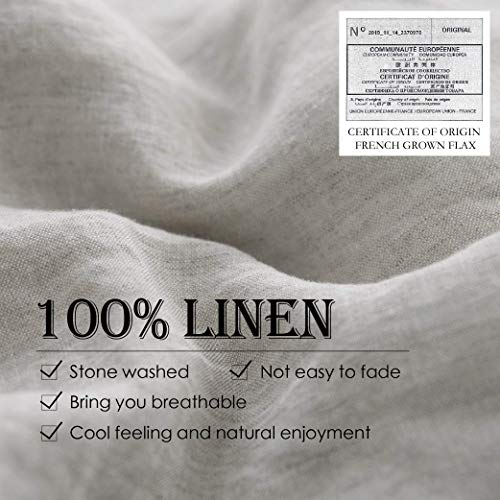 SimpleOpulence 100 Linen Duvet Cover Set 2pcs Stone Washed Natural French Flax Basic Style Solid Color Bedding With Button Closure Twin Linen 0 0