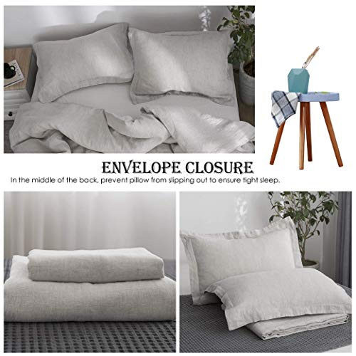 SimpleOpulence 100 Linen Duvet Cover Set 2pcs Stone Washed Natural French Flax Basic Style Solid Color Bedding With Button Closure Twin Linen 0 2