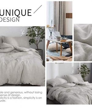 SimpleOpulence 100 Linen Duvet Cover Set 2pcs Stone Washed Natural French Flax Basic Style Solid Color Bedding With Button Closure Twin Linen 0 3 300x360