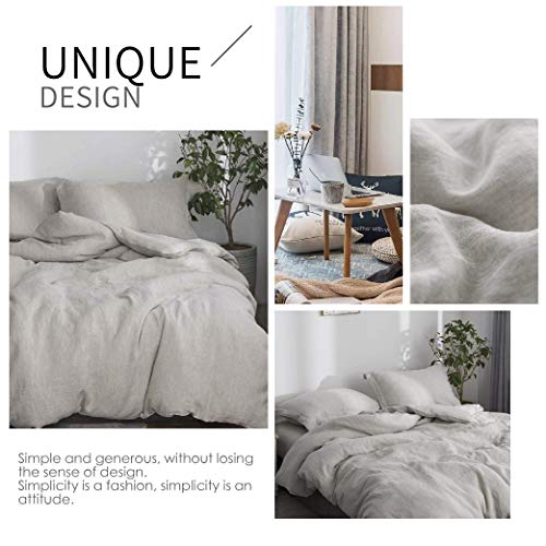 SimpleOpulence 100 Linen Duvet Cover Set 2pcs Stone Washed Natural French Flax Basic Style Solid Color Bedding With Button Closure Twin Linen 0 3