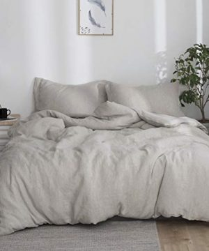 SimpleOpulence 100 Linen Duvet Cover Set 2pcs Stone Washed Natural French Flax Basic Style Solid Color Bedding With Button Closure Twin Linen 0 300x360