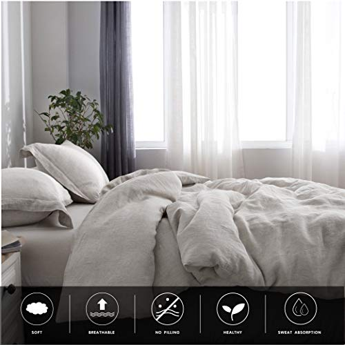 SimpleOpulence 100 Linen Duvet Cover Set 2pcs Stone Washed Natural French Flax Basic Style Solid Color Bedding With Button Closure Twin Linen 0 4
