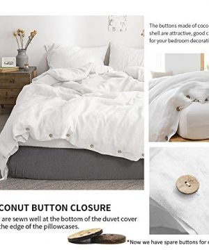 SimpleOpulence 100 Linen Duvet Cover Set With Coconut Button Closure Stone Washed 2 Pieces 1 Duvet Cover 1 Pillowcase Soft Breathable Farmhouse White Twin Size 0 0 300x360