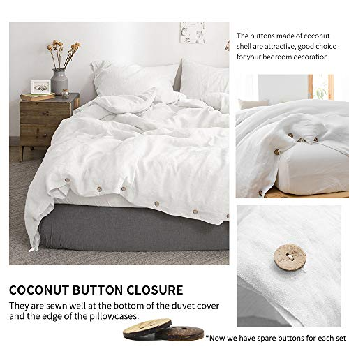 SimpleOpulence 100 Linen Duvet Cover Set With Coconut Button Closure Stone Washed 2 Pieces 1 Duvet Cover 1 Pillowcase Soft Breathable Farmhouse White Twin Size 0 0