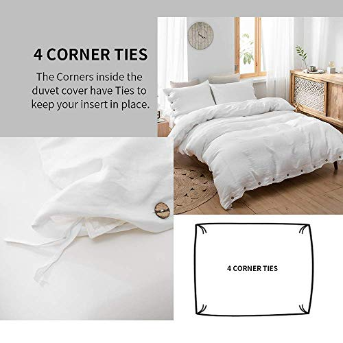 SimpleOpulence 100 Linen Duvet Cover Set With Coconut Button Closure Stone Washed 2 Pieces 1 Duvet Cover 1 Pillowcase Soft Breathable Farmhouse White Twin Size 0 1