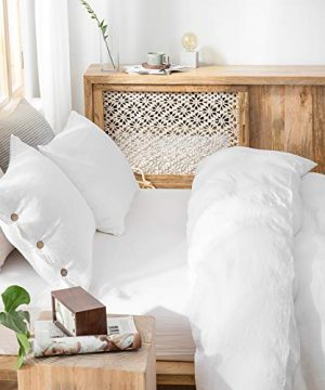 SimpleOpulence 100 Linen Duvet Cover Set With Coconut Button Closure Stone Washed 2 Pieces 1 Duvet Cover 1 Pillowcase Soft Breathable Farmhouse White Twin Size 0 2 300x360