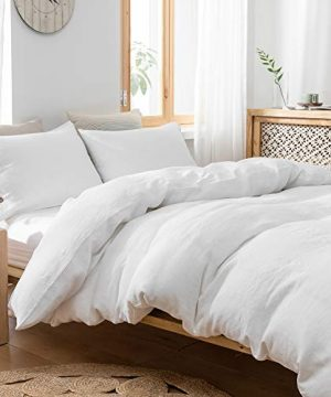SimpleOpulence 100 Linen Duvet Cover Set With Coconut Button Closure Stone Washed 2 Pieces 1 Duvet Cover 1 Pillowcase Soft Breathable Farmhouse White Twin Size 0 3 300x360