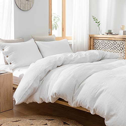 SimpleOpulence 100 Linen Duvet Cover Set With Coconut Button Closure Stone Washed 2 Pieces 1 Duvet Cover 1 Pillowcase Soft Breathable Farmhouse White Twin Size 0 3