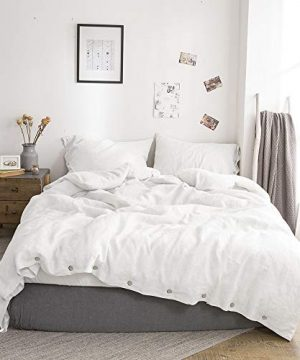 SimpleOpulence 100 Linen Duvet Cover Set With Coconut Button Closure Stone Washed 2 Pieces 1 Duvet Cover 1 Pillowcase Soft Breathable Farmhouse White Twin Size 0 300x360