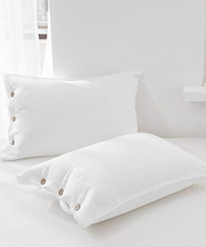 SimpleOpulence 100 Linen Duvet Cover Set With Coconut Button Closure Stone Washed 2 Pieces 1 Duvet Cover 1 Pillowcase Soft Breathable Farmhouse White Twin Size 0 4 300x360