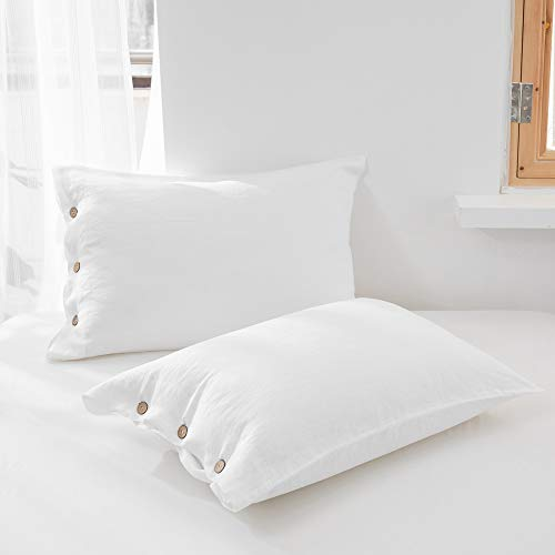 SimpleOpulence 100 Linen Duvet Cover Set With Coconut Button Closure Stone Washed 2 Pieces 1 Duvet Cover 1 Pillowcase Soft Breathable Farmhouse White Twin Size 0 4