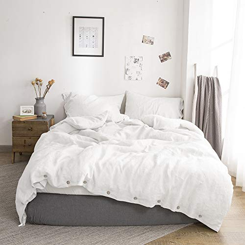 SimpleOpulence 100 Linen Duvet Cover Set With Coconut Button Closure Stone Washed 2 Pieces 1 Duvet Cover 1 Pillowcase Soft Breathable Farmhouse White Twin Size 0