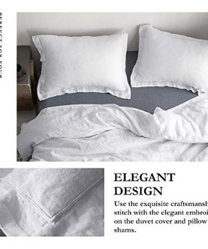 SimpleOpulence 100 Linen Duvet Cover Set With Embroidery Border Stone Washed 2 Pieces 1 Duvet Cover 1 Pillow Sham With Button Closure Soft Breathable Farmhouse White Twin Size 0 0 300x360