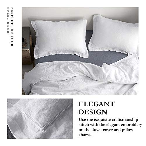 SimpleOpulence 100 Linen Duvet Cover Set With Embroidery Border Stone Washed 2 Pieces 1 Duvet Cover 1 Pillow Sham With Button Closure Soft Breathable Farmhouse White Twin Size 0 0
