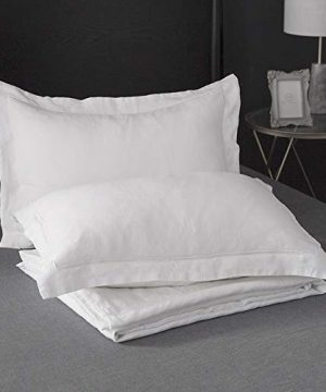SimpleOpulence 100 Linen Duvet Cover Set With Embroidery Border Stone Washed 2 Pieces 1 Duvet Cover 1 Pillow Sham With Button Closure Soft Breathable Farmhouse White Twin Size 0 4 300x360