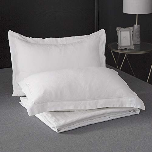 SimpleOpulence 100 Linen Duvet Cover Set With Embroidery Border Stone Washed 2 Pieces 1 Duvet Cover 1 Pillow Sham With Button Closure Soft Breathable Farmhouse White Twin Size 0 4