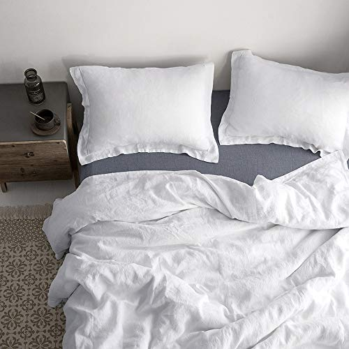 SimpleOpulence 100 Linen Duvet Cover Set With Embroidery Border Stone Washed 2 Pieces 1 Duvet Cover 1 Pillow Sham With Button Closure Soft Breathable Farmhouse White Twin Size 0