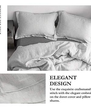 SimpleOpulence 100 Linen Duvet Cover Set With Embroidery Border Stone Washed 3 Pieces 1 Duvet Cover With 2 Pillow Shams With Button Closure Soft Breathable Farmhouse Grey Full Size 0 0 300x360