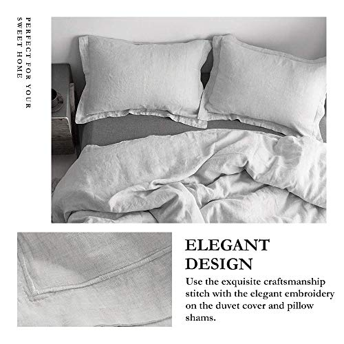 SimpleOpulence 100 Linen Duvet Cover Set With Embroidery Border Stone Washed 3 Pieces 1 Duvet Cover With 2 Pillow Shams With Button Closure Soft Breathable Farmhouse Grey Full Size 0 0
