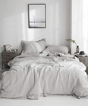 SimpleOpulence 100 Linen Duvet Cover Set With Embroidery Border Stone Washed 3 Pieces 1 Duvet Cover With 2 Pillow Shams With Button Closure Soft Breathable Farmhouse Grey Full Size 0 3 300x360